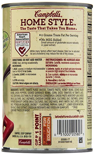 Amazon.com : Campbells Homestyle Healthy Request Soup, Spicy Vegetable Chili, 18.8 Ounce (Pack of 12) : Packaged Vegetable Soups : Grocery & Gourmet Food