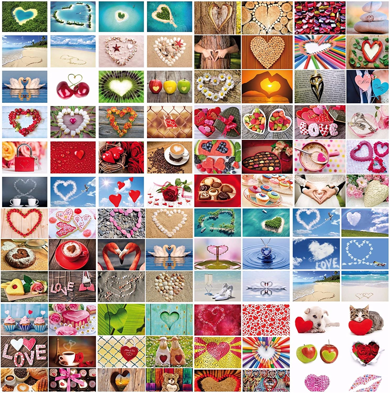 '100pezzi Cartoline di Box Love di Cards von Edition Colibri: set di cartoline a tema matrimonio e amore con 100diversi Cuore di cartoline in formato DIN a 6in una scatola elegante (10794–10939)
