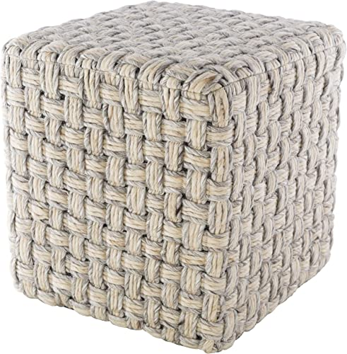 Kewaskum 18″ x 18″ x 18″ Cube Texture 70 Wool/30 Polyester/100 Polystyrene Block/100 Polyester Light Gray/Cream Pouf