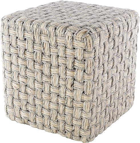 Kewaskum 18″ x 18″ x 18″ Cube Texture 70 Wool/30 Polyester/100 Polystyrene Block/100 Polyester Light Gray/Cream Pouf