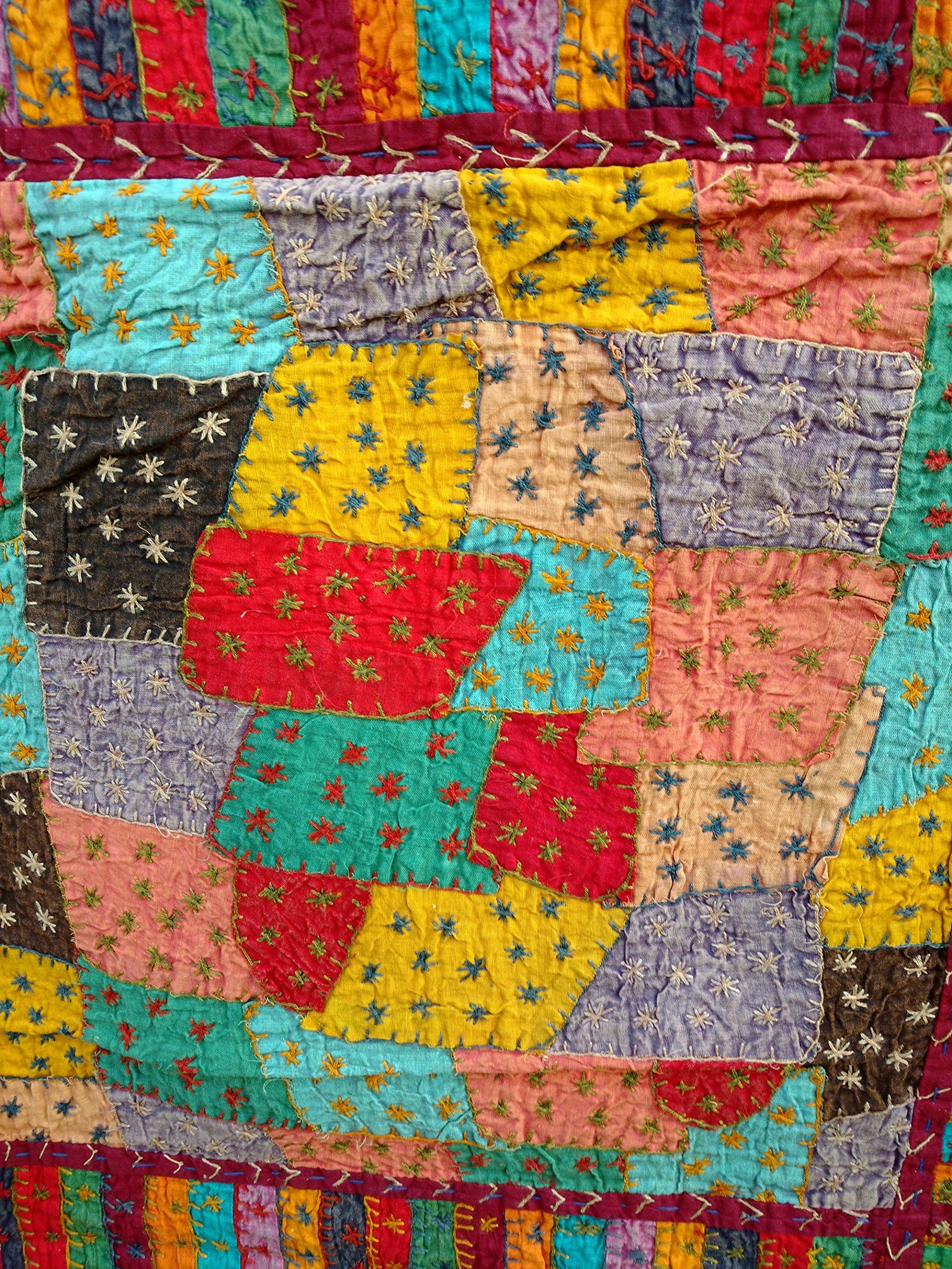Rastogi Handicrafts India Ethnic Handmade Applique Jogi Work Cotton Double Bedcover Queen size Multi colored Bedsheet cover (MULTI COLOR 20 BOXES) by Rastogi Handicrafts (Image #4)