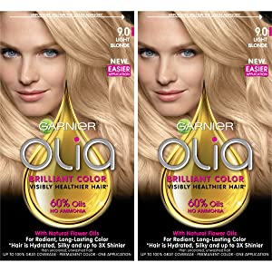 Garnier Olia Ammonia-Free Brilliant Color Oil-Rich Permanent Hair Color, 9.0 Light Blonde (Pack of 2) Blonde Hair Dye