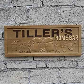 Wpa0053 Name Personalized Home Bar Wooden 3D Engraved Sign Custom Gift  Craved Bar Beer Home Décor
