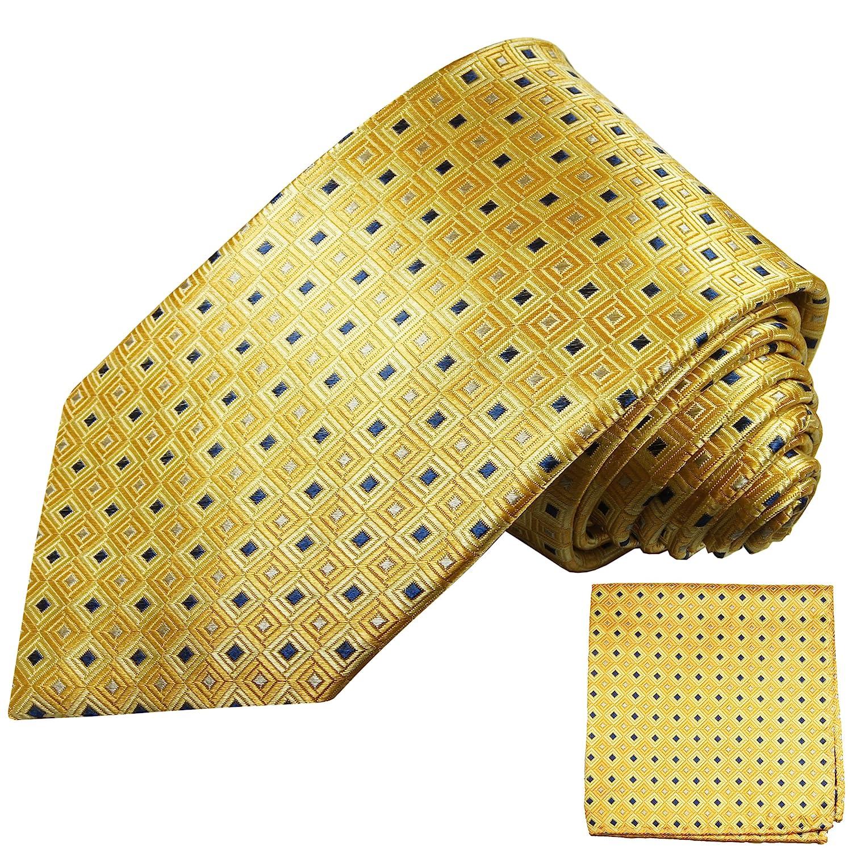Paul Malone - Krawatte gelb gold gepunktet Seide schmal 6cm mit Einstecktuch/Herren Seidenkrawatte 689-Schmal