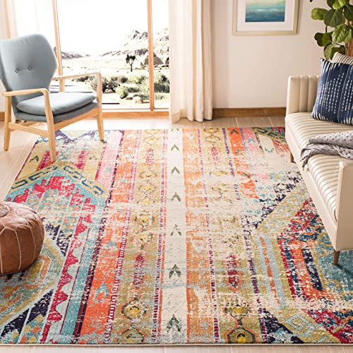 Safavieh Monaco Collection MNC222F Modern Bohemian Multicolored Distressed Square Area Rug 6'7″ Square