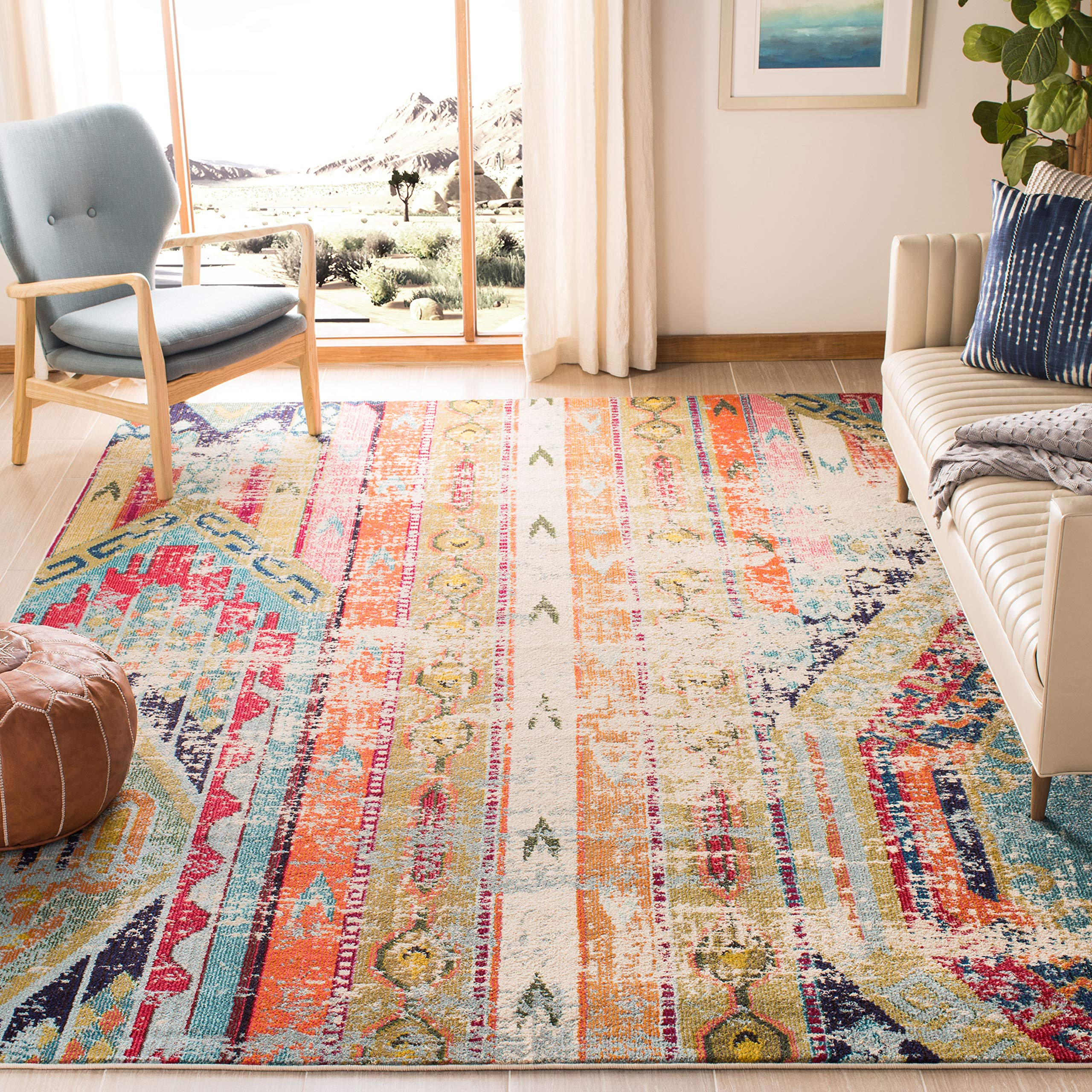 "Safavieh Monaco Collection MNC222F Modern Bohemian Distressed Area Rug, 5'1"" x 7'7"", Multicolored product image"