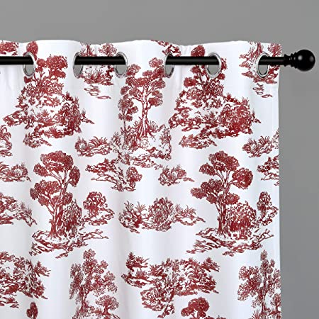 DriftAway Lola Toile Sketch Forest Tree Botantical Blackout Room Darkening Thermal Insulated Grommet Lined Window Curtains 2 Panels 2 Layers Each 52 Inch by 84 Inch Red