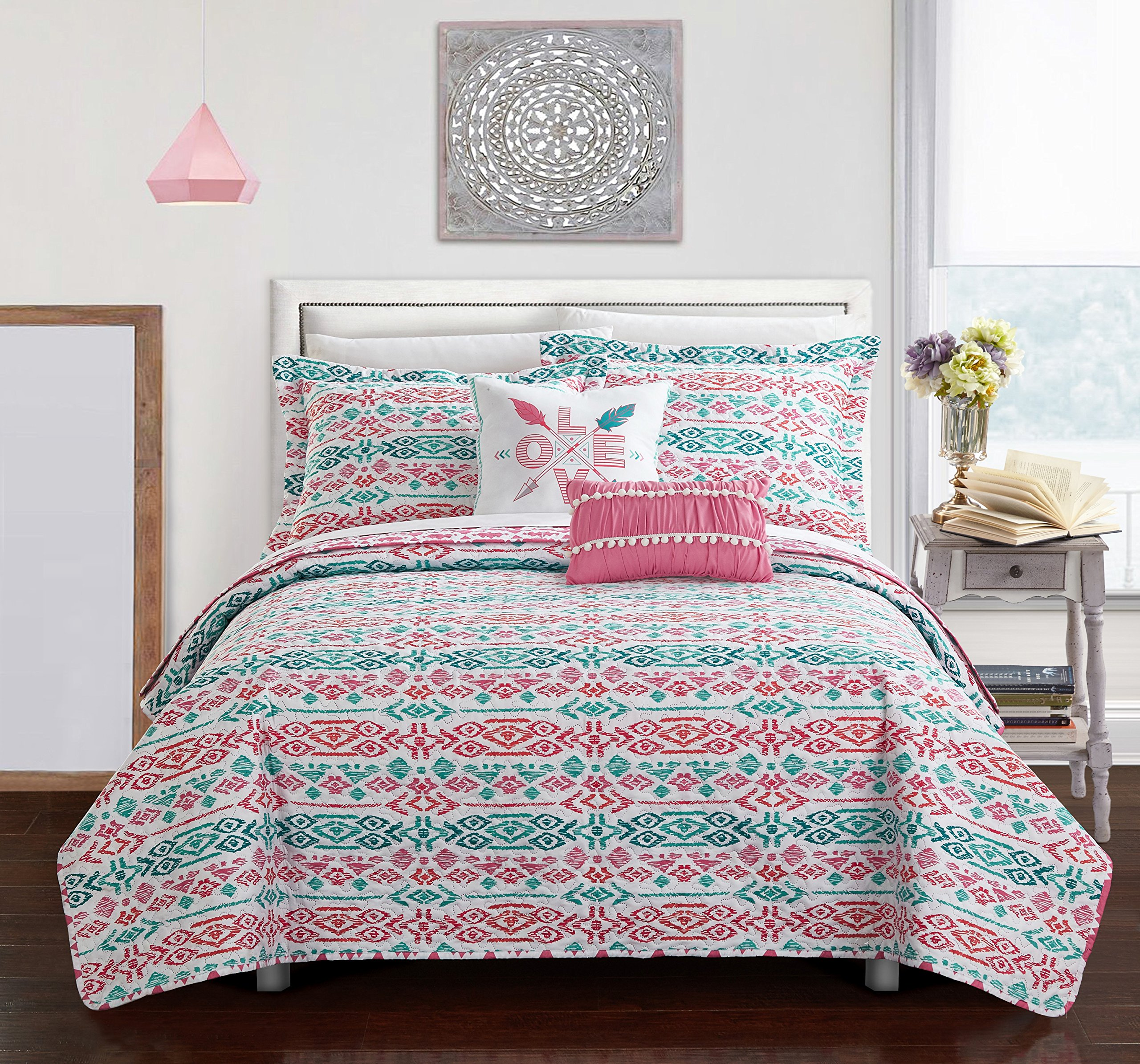 Chic Home 4 Piece Millie REVERSIBLE Ikat bohemian designer printed quilt and shams set, includes LOVE and pom pom pillow Twin Quilt Set Aqua by Chic Home (Image #2)