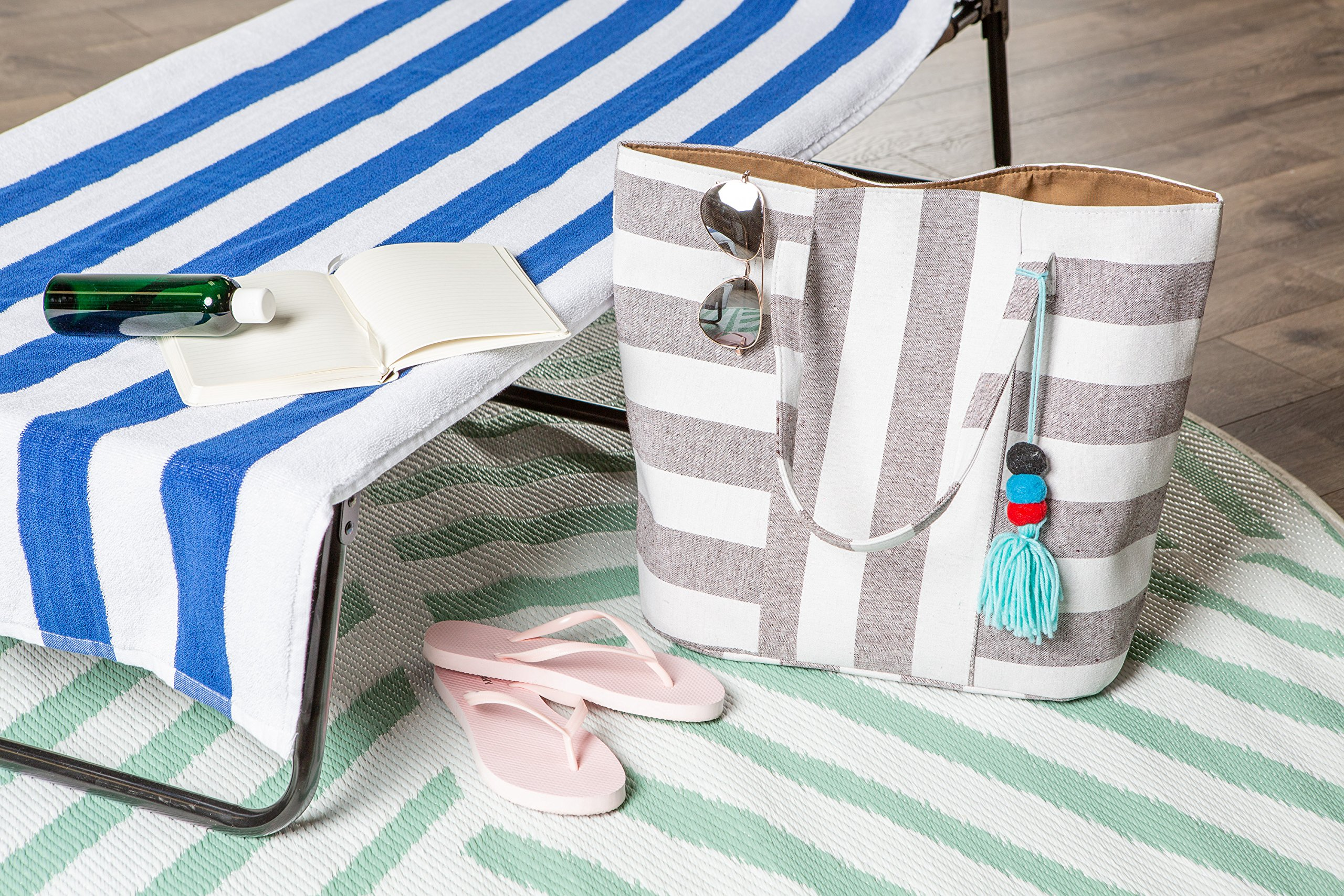 DII Boho Stripe Beach Bag 16x20x7 Shoulder Travel Tote Black, Boho Stripe Brown by DII (Image #7)