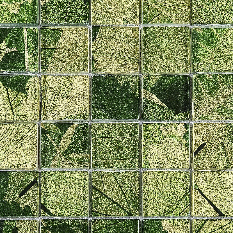 - Amazon.com: TLG-03 2x2 Green Leaf Glass Mosaic Tile Backsplash For