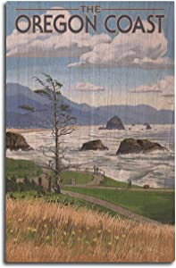 Lantern Press Oregon Coast - Rocky Shore (10x15 Wood Wall Sign, Wall Decor Ready to Hang)