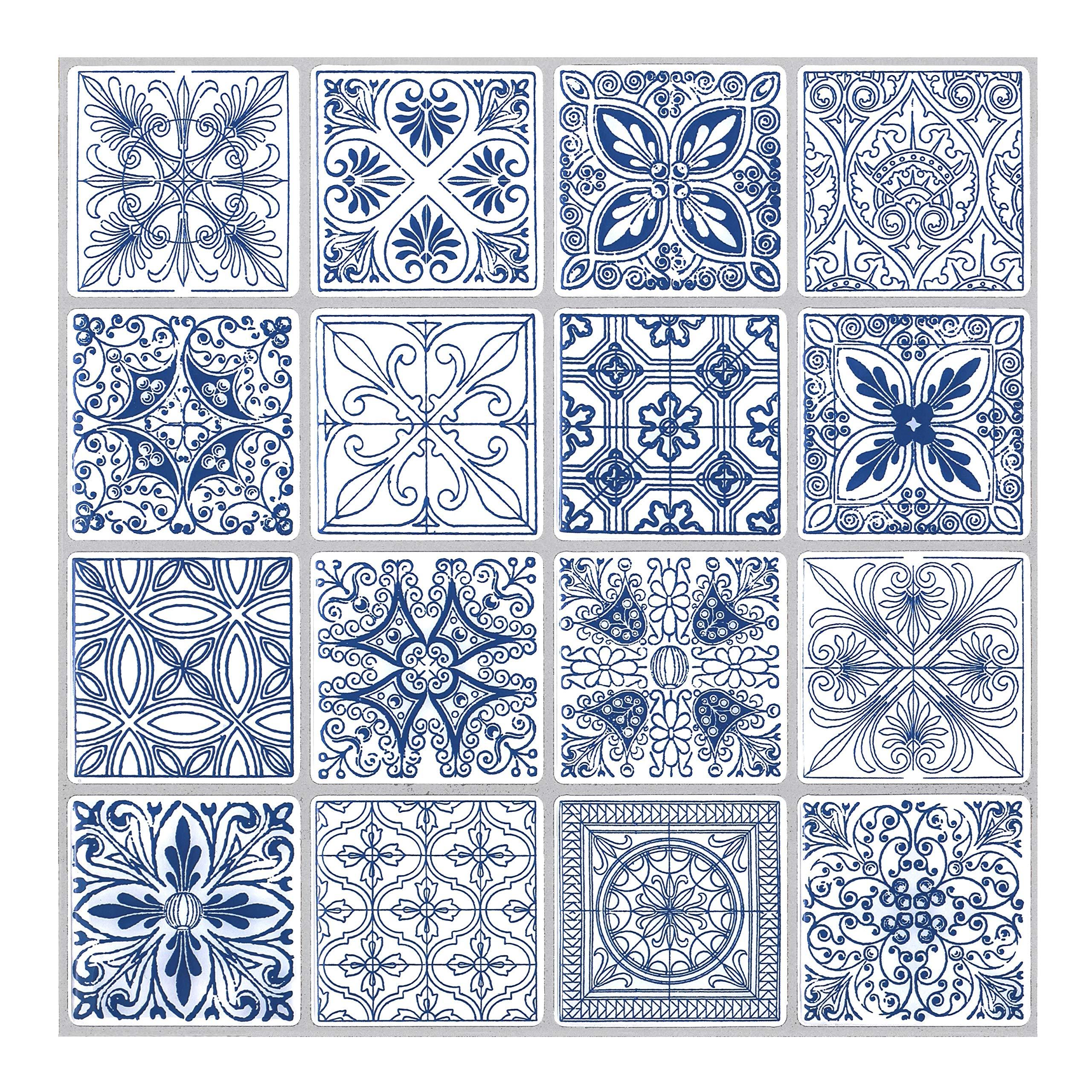 Tic Tac Tiles - Premium Anti Mold Peel and Stick Wall Tile Backsplash in Portuguese Blue (Portuguese Blue, 5)