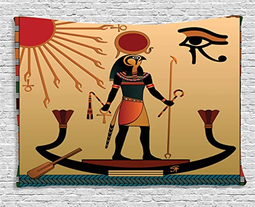 Ambesonne Egyptian Print Tapestry, Sun Old Egyptian Timeless Grace Tradition Illustration, Wide Wall Hanging for Bedroom Living Room Dorm, 80 X 60 , Cream Red