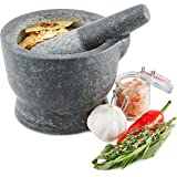 Andrew James Traditional Pestle and Mortar Set - Premium Solid Stone Granite - Large 15cm Rustic Bowl with Easy Pour Lip - Perfect for Crushing Herbs & Spices for Recipes