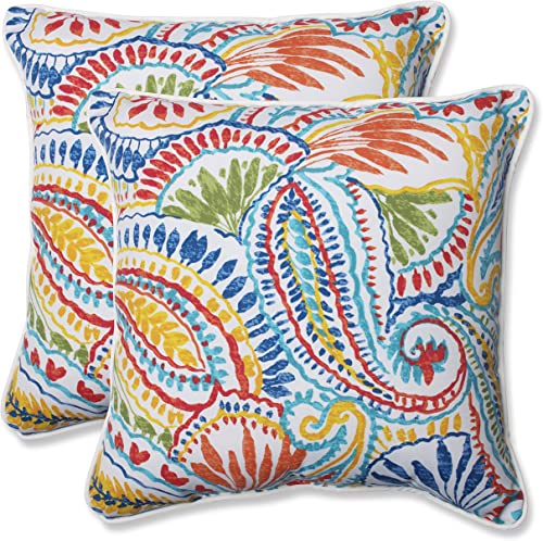 Pillow Perfect 572598 Outdoor Indoor Ummi Throw Pillows, 18.5 x 18.5 , Multicolored