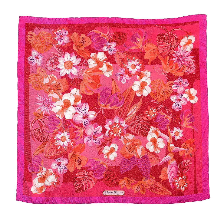 Salvatore Ferragamo 100% Silk Multicolor Floral Print Women's Shawl Scarf