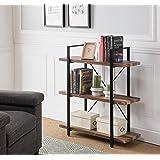 Vintage Dark Brown / Black Metal 3-tier Bookcase Bookshelf Shelf Storage