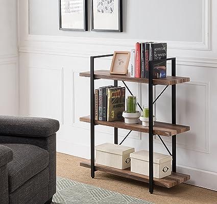 Vintage Dark Brown Black Metal 3 Tier Bookcase Bookshelf Shelf Storage