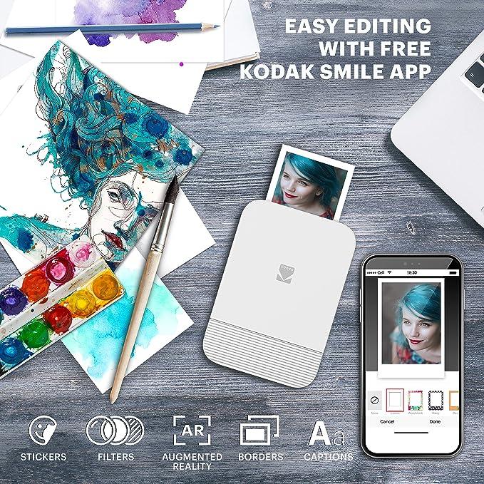 Papier 2x3 Zink Mini imprimante Bluetooth r/étractable pour iOS et Android Bleu KODAK Smile Imprimante num/érique instantan/ée Modifier Imprimer et Partager avec lapplication Smile