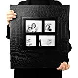 RECUTMS Photo Album 600 Pockets Leather Cover Black Pages Big Capacity for 4x6 Photos Book Hardcover Wedding Gift Valentines Day Present Family Baby Albums
