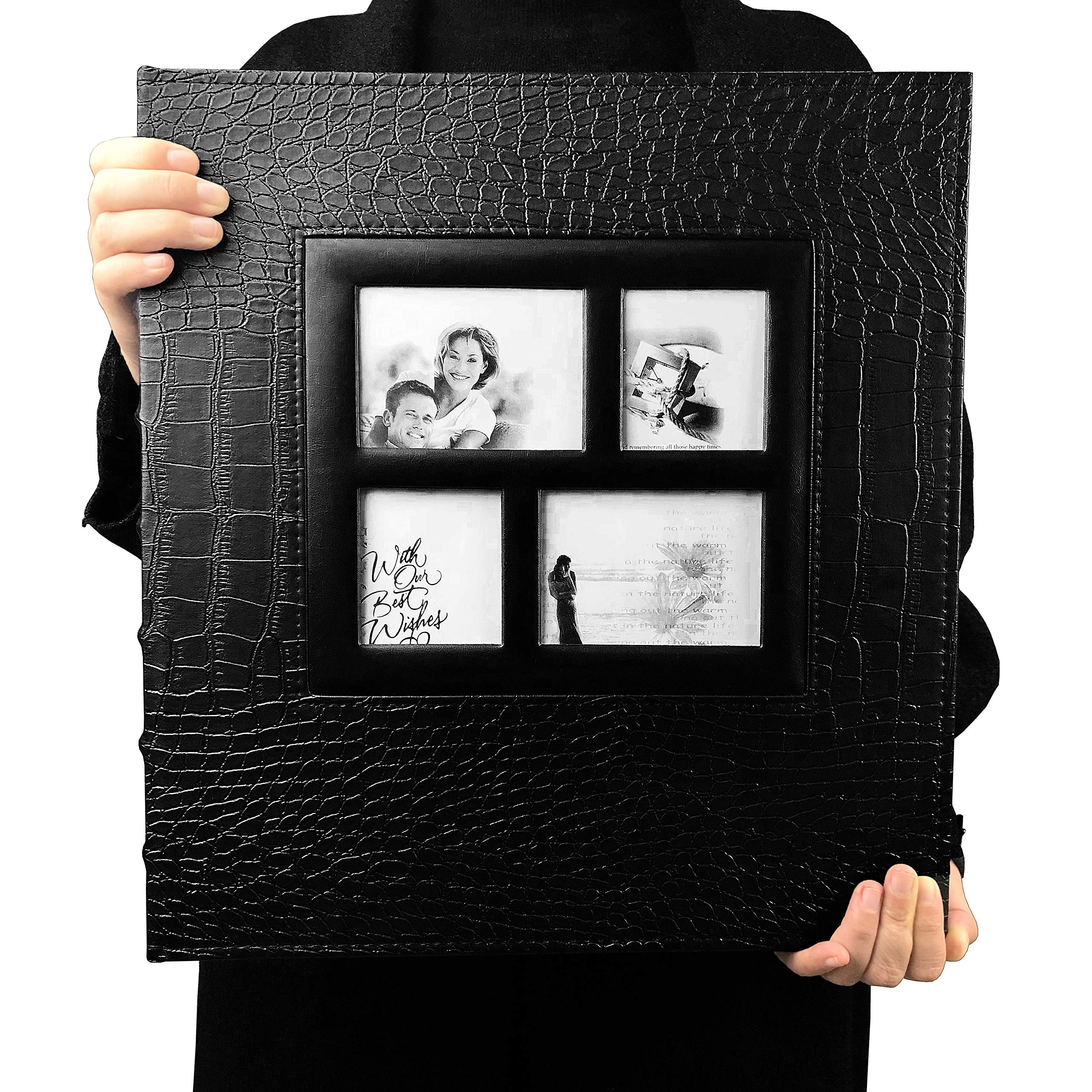 RECUTMS Photo Album 600 Pockets,Sewn Bonded Black Leather Book Pockets Hardcover Photo Frame 4x6 Photos Wedding Gift Valentines Day Present by RECUTMS