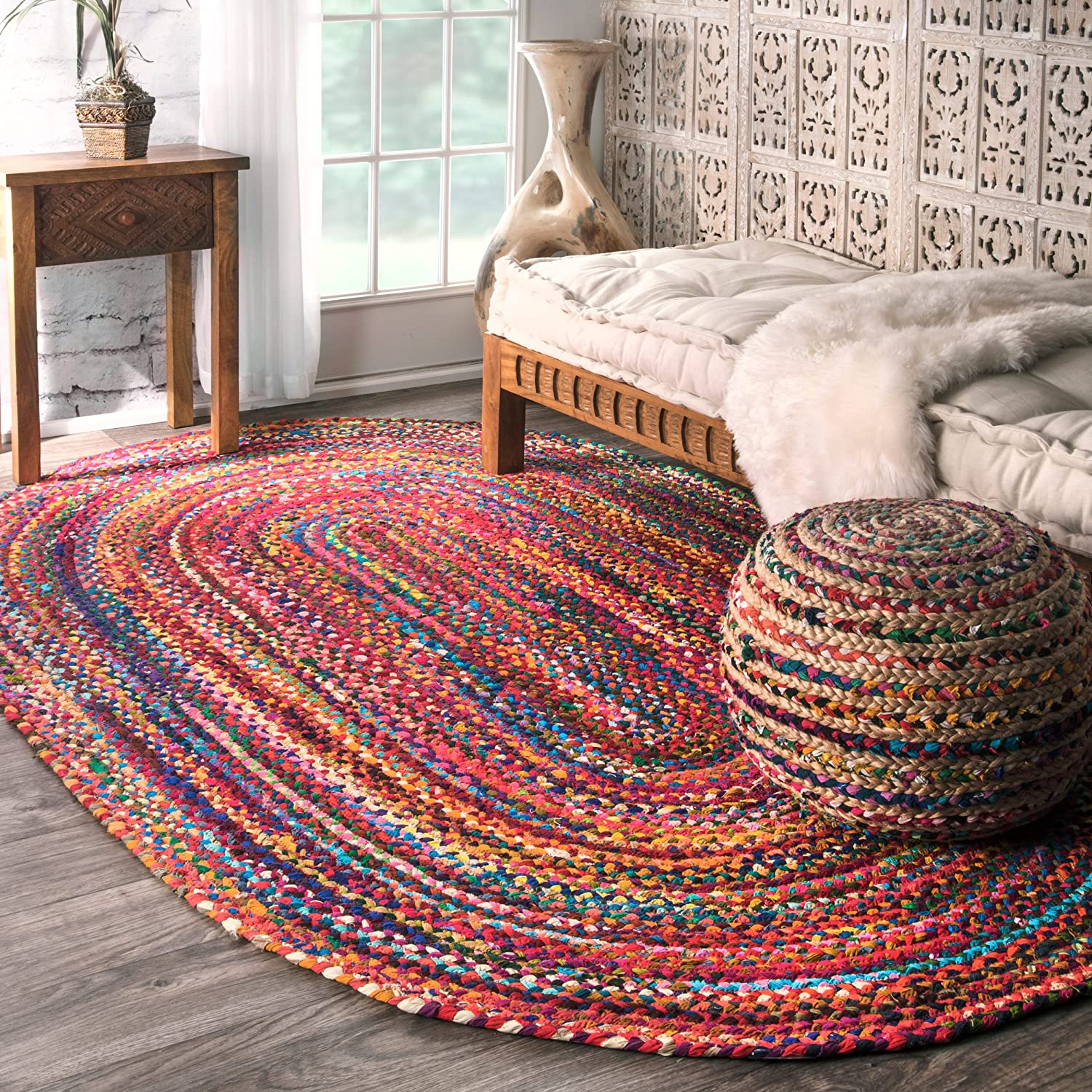 casual handmade braided cotton multi area rugs 4 feet