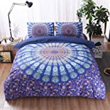 Meeting Story Mandala Bohemian Design 3Pcs Duvet Cover Set (Queen, Floral Blue)