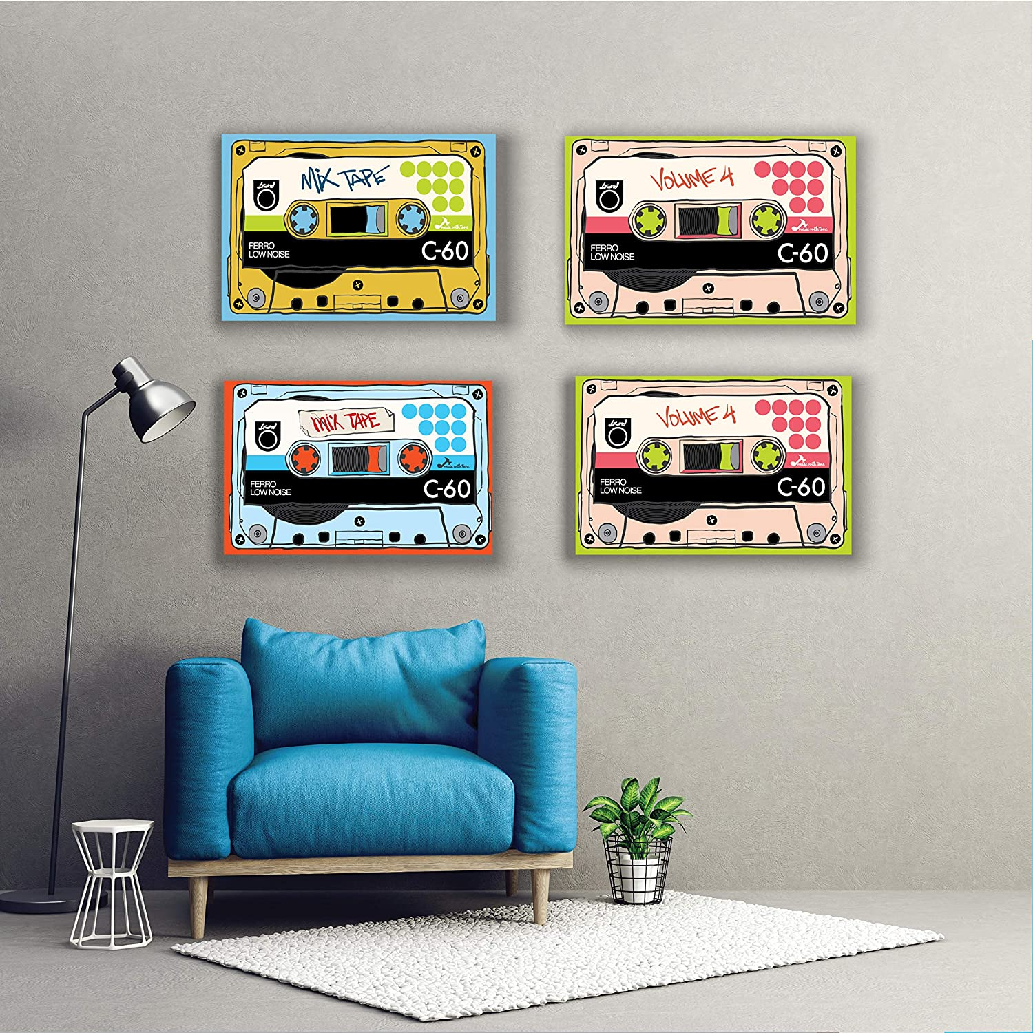 Wall Art Decorations for Musician Poster Retro and Old School Music Vintage Print Decor for Classroom and Work Paintings Gifts for Room Rock and Country Decoration Prints