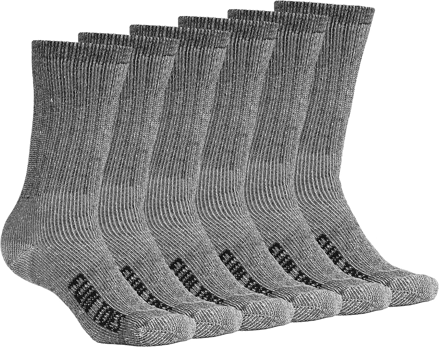 FUN TOES Men's Crew Merino Wool Socks 6 Pairs Winter Lightweight, Reinforced Size 8-12