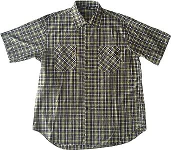Hombre Manga Corta Camisa Cuadros, con dos bolsillos en el pecho para todos, color verde/blanco/marrón, tamaño 41/42