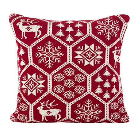 SARO LIFESTYLE Holiday Fair Isle Design Poly Filled Throw Pillow, 18 , Red