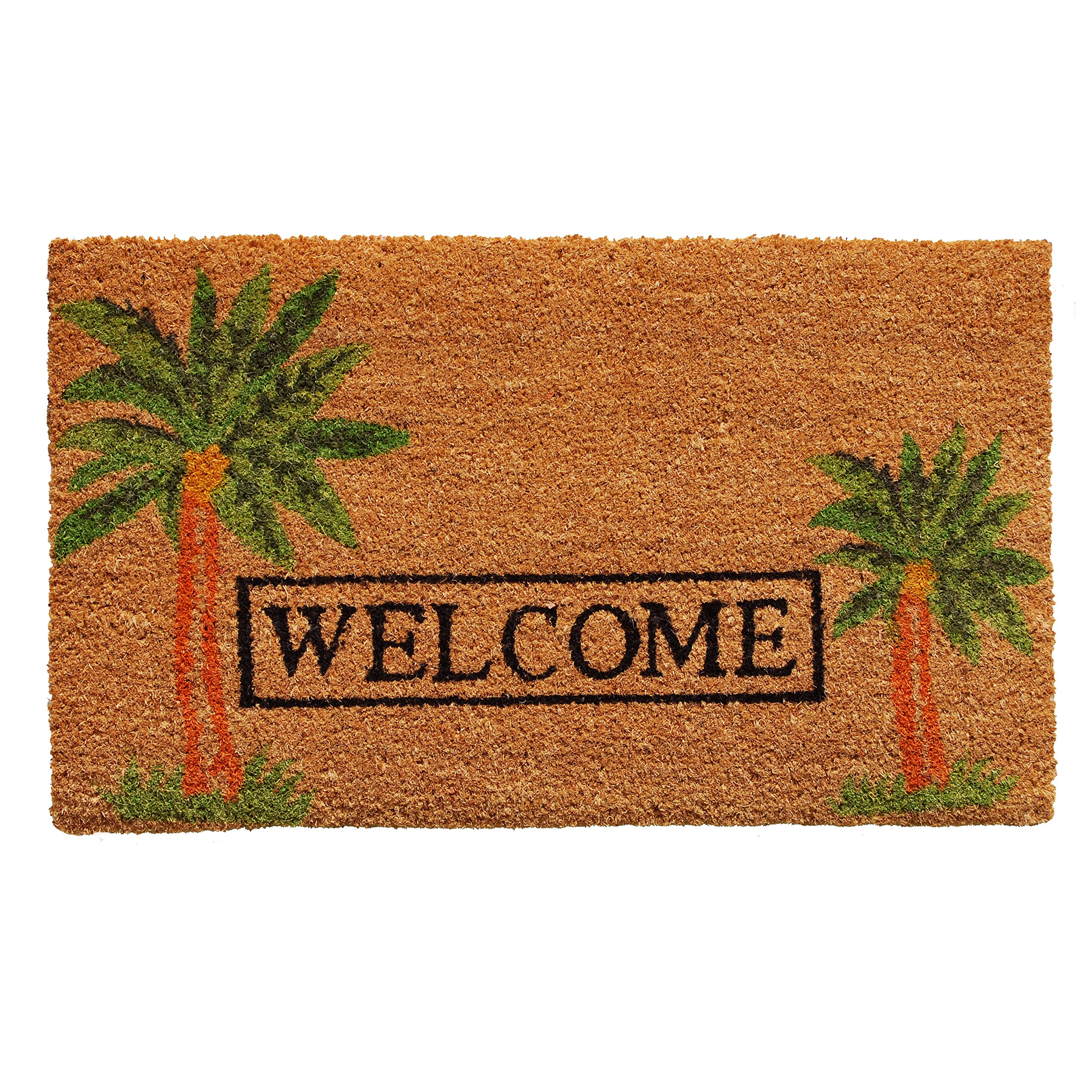 Home & More 120521729 Palm Welcome Doormat, 17'' x 29'' x 0.60'', Multicolor