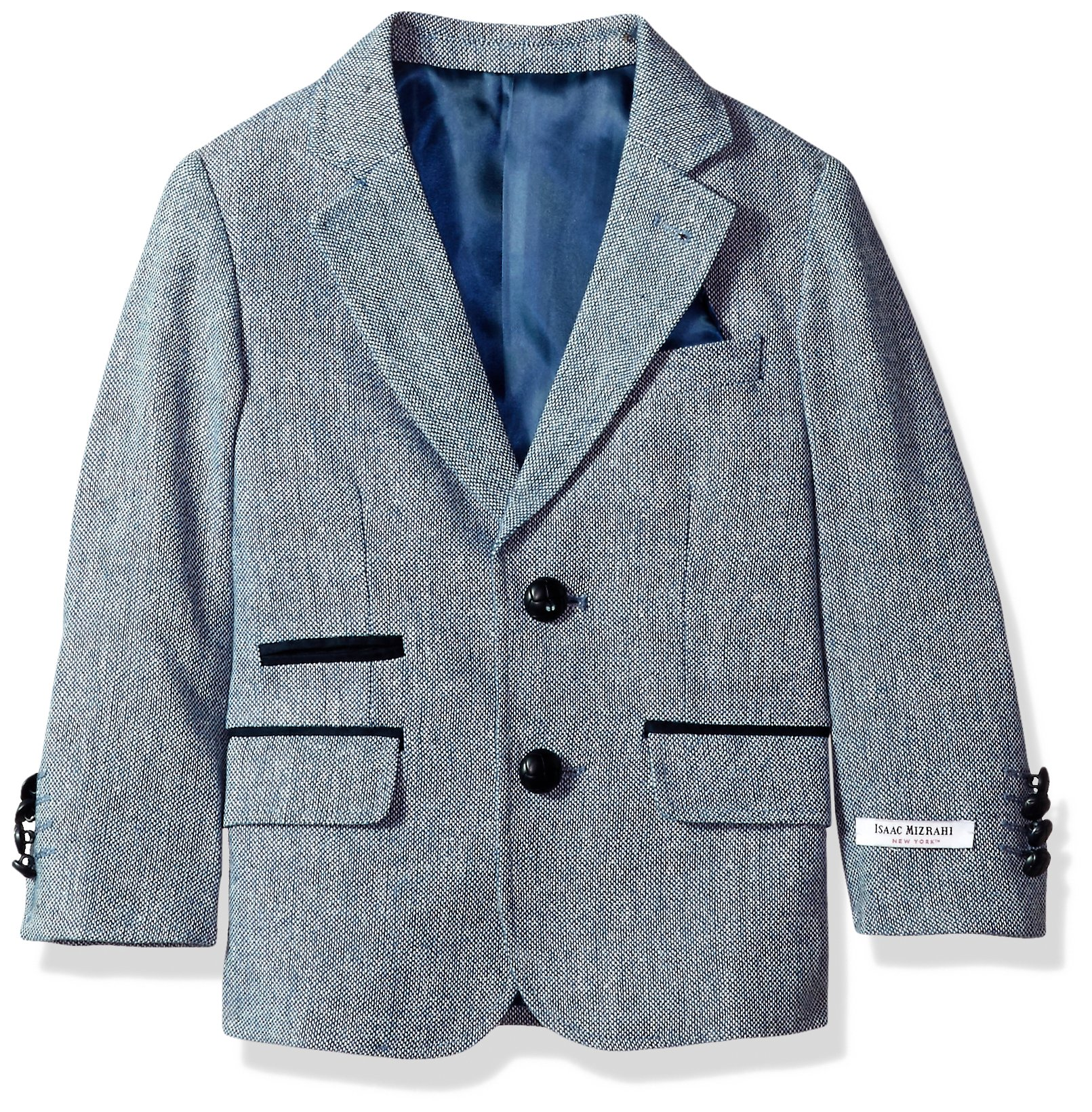 Isaac Mizrahi Big Boys' Tweed Blazer with Suede Contrast, Blue, 20 by Isaac Mizrahi
