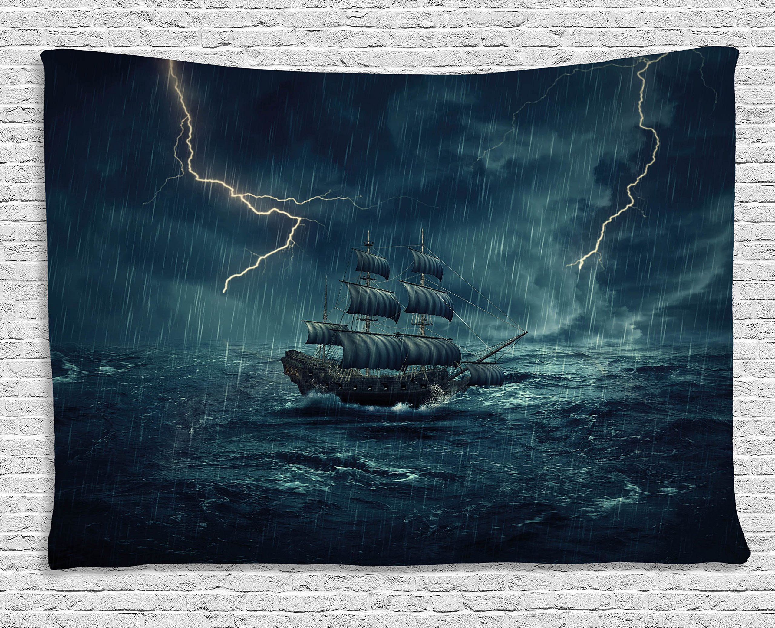 Ambesonne Landscape Tapestry, Stormy Rainy Weather Waves Pirate Vintage Ship Sailing Oil Paint, Wall Hanging for Bedroom Living Room Dorm, 60 W X 40 L inches, White and Dark Cadet Blue