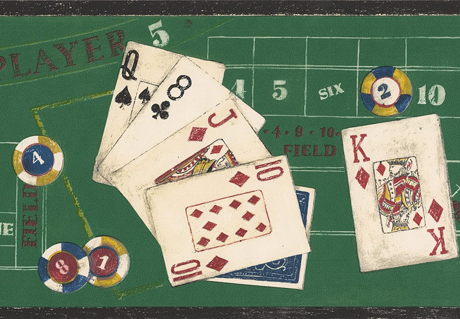 Poker Chips Cards On Casino Table Green Wallpaper Border Abstract
