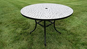 Exclusive Outdoor Round Concrete Mosaic Dining Table   Ceramic