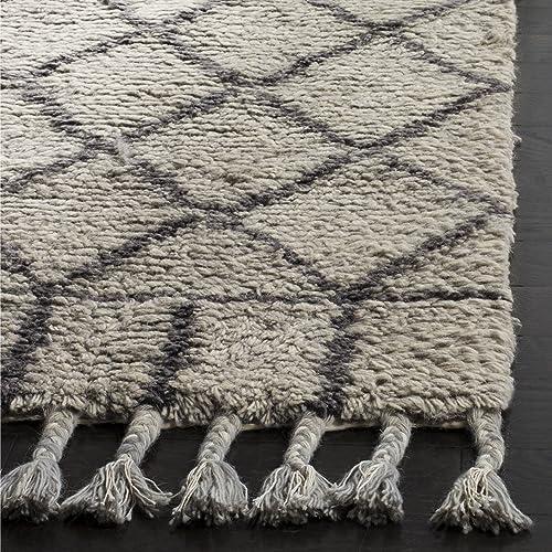 Safavieh Casablanca Shag Collection CSB725C Southwestern Grey and Dark Grey Premium Wool Cotton Area Rug 6 x 9