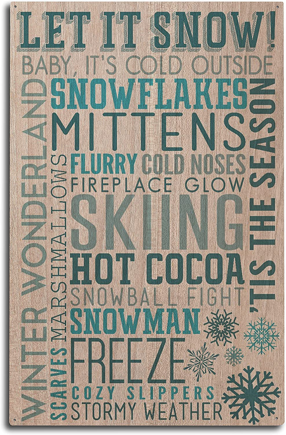 Lantern Press Let It Snow Typography (10x15 Wood Wall Sign, Wall Decor Ready to Hang)