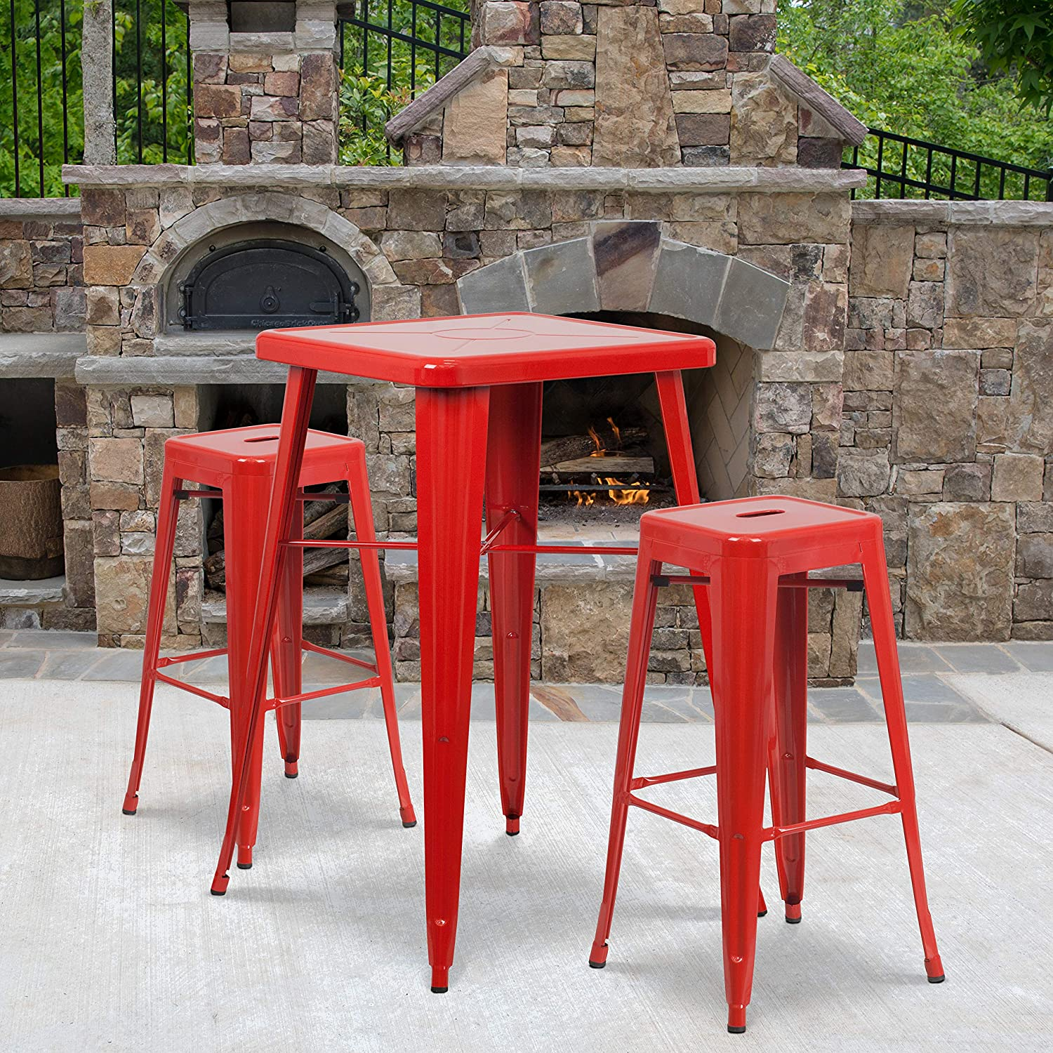 "Flash Furniture Commercial Grade 23.75"" Square Red Metal Indoor-Outdoor Bar Table Set with 2 Square Seat Backless Stools"