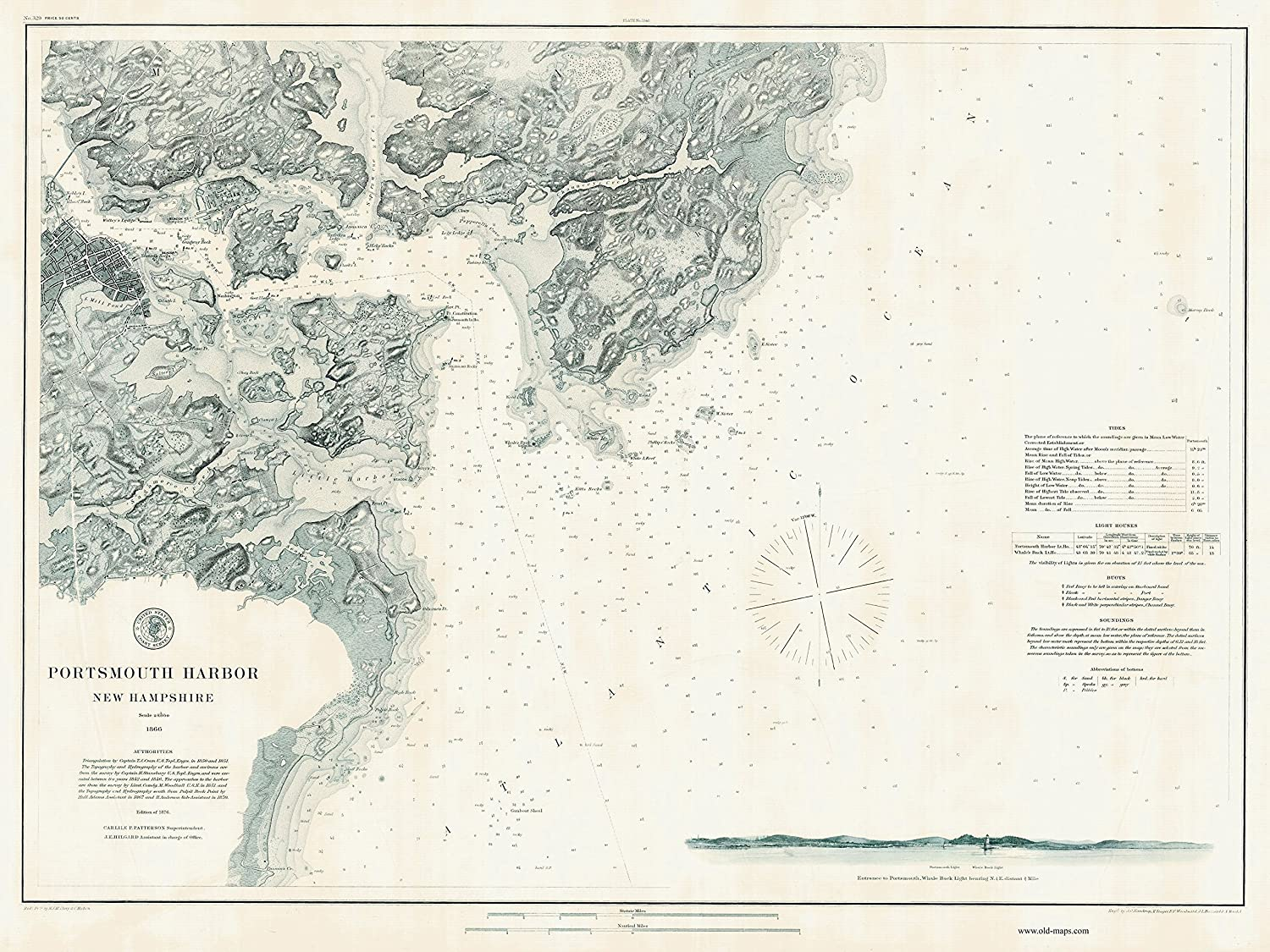 Portsmouth Harbor, New Hampshire & Maine - 1876 Nautical Map Harbors 1-329  Reprint