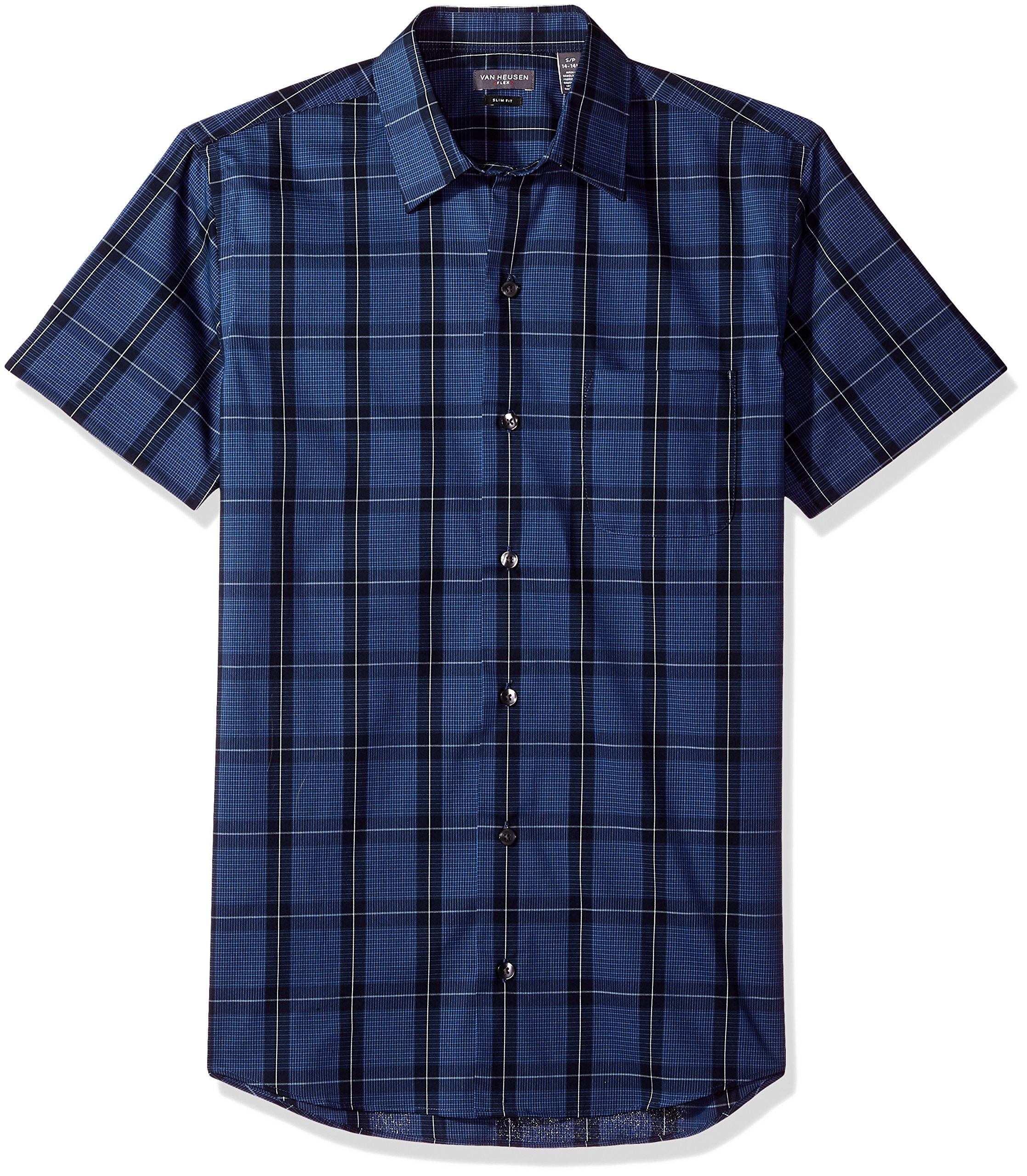 Van Heusen Men's Flex Stretch Short Sleeve Non Iron Shirt, Windowpane Blue Monday, Small Slim