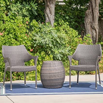 Terrific Amazon Com Alfheimr Outdoor 3 Piece Grey Wicker Stacking Andrewgaddart Wooden Chair Designs For Living Room Andrewgaddartcom
