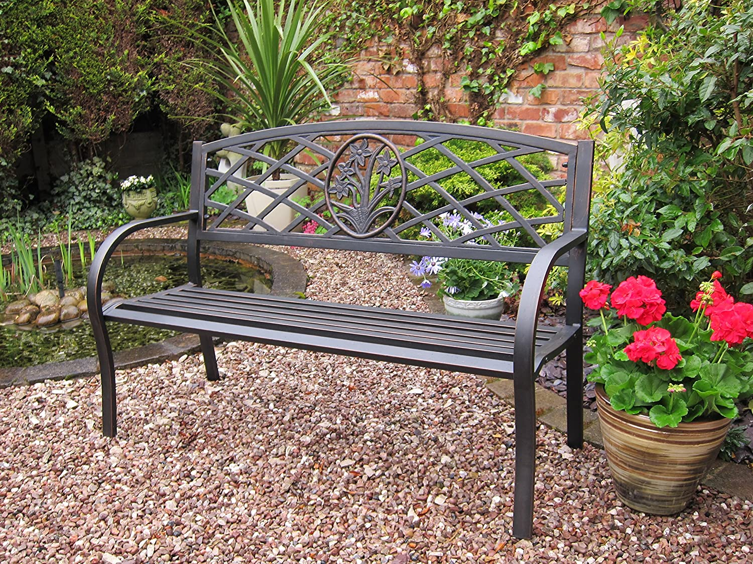 Rondeau Leisure Quality Reims steel 2 Seater Black Garden Bench ...