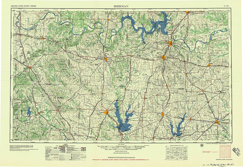 Amazon Com Yellowmaps Sherman Tx Topo Map 1 250000 Scale 1 X 2