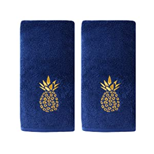 SKL Home by Saturday Knight Ltd Gilded Pineapple Hand Towel, Navy