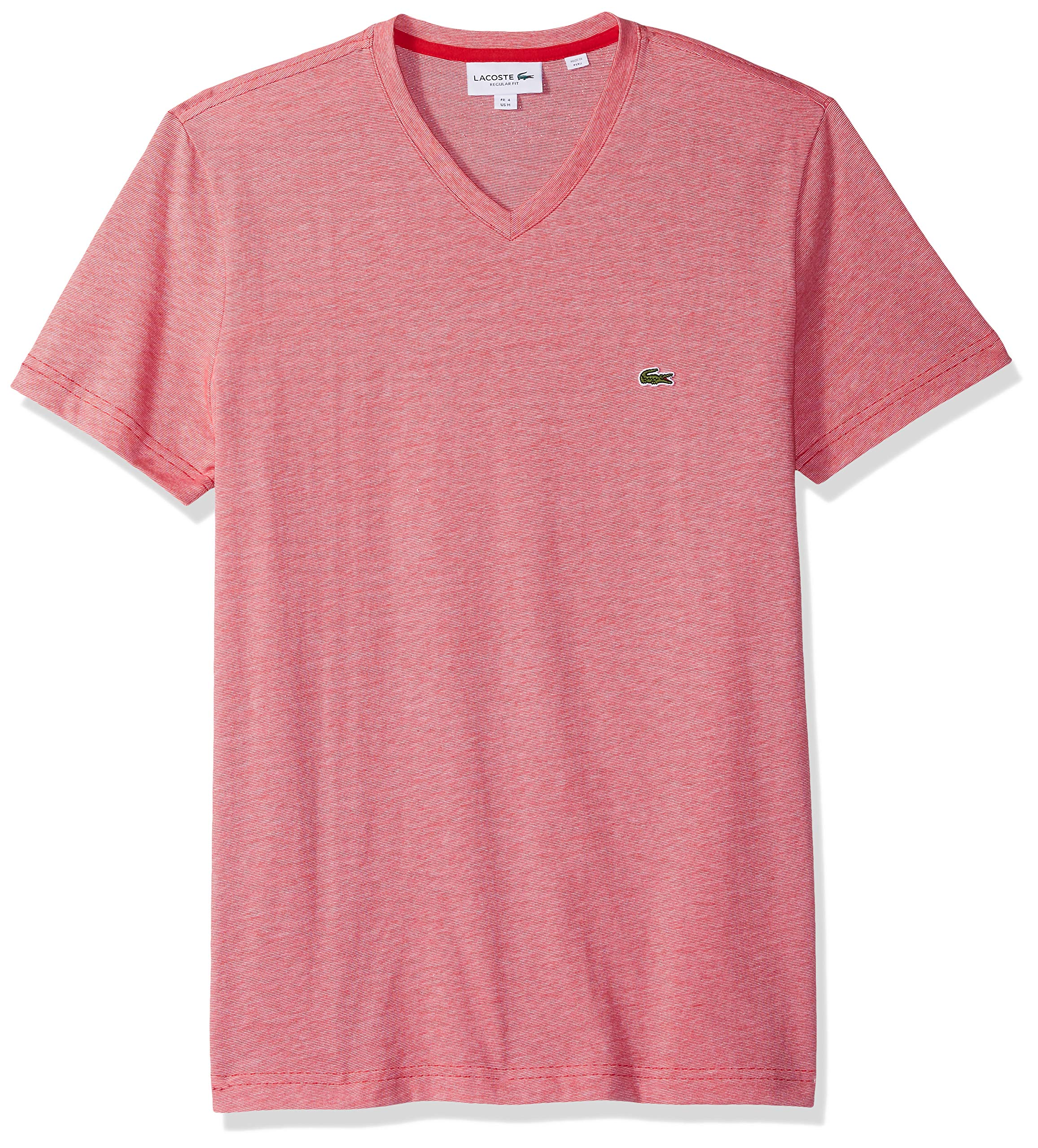 Lacoste Men's Fine Stripe Short Sleeve T-Shirt, TH6810, Imperial Red/White, Small