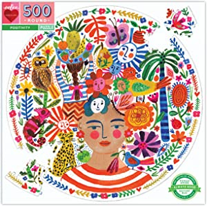 eeBoo Positivity 500 Piece Round Puzzle for Adults