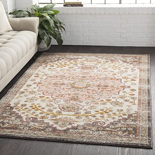Zoey Light Pink and Camel Updated Traditional Area Rug 5 3 x 7 6