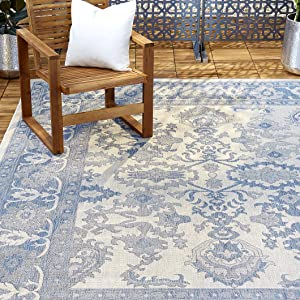 "Home Dynamix Nicole Miller Patio Country Ayana Indoor/Outdoor Area Rug 5'2""x7'2"", Traditional Gray/Blue"