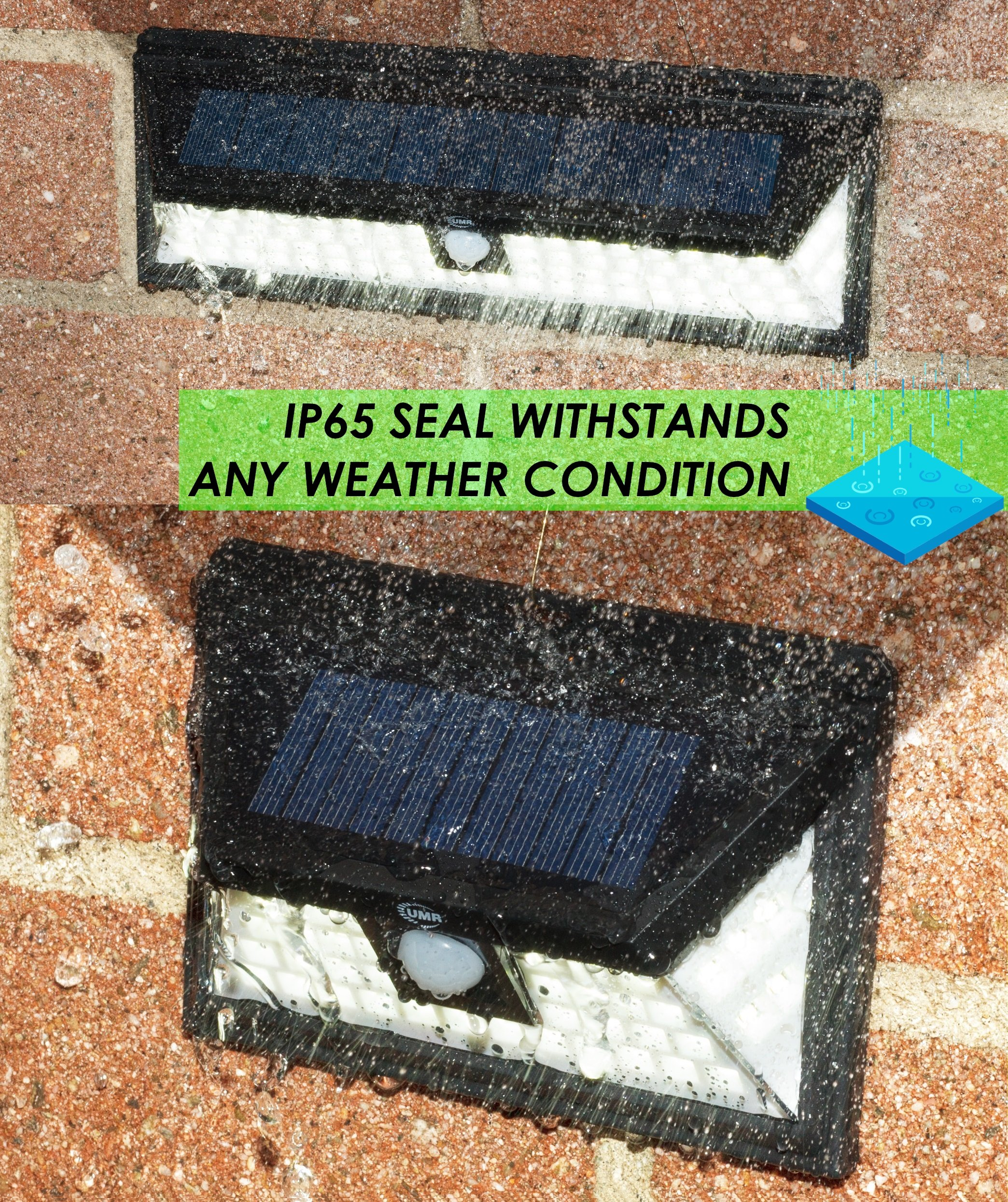 UMR 90 LED Solar Security Light - New 2018 Motion Sensor Outdoor Lighting w 5 LEDs Per Side, Dusk to Dawn Detector, Wireless Battery Power is Ultra-Bright for Exterior Outside Driveway Yard Patio Deck by UMR (Image #7)